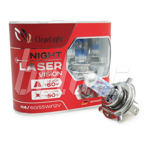 Лампы галогенные «ClearLight» H4 Night Laser Vision +200% (12V-60/55W)